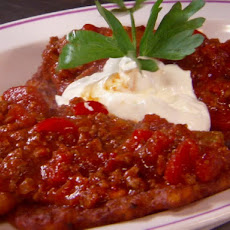 Hungarian Placki (Potato Pancakes with Spicy Tomato-Beef Sauce)