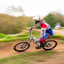 by Nick Moor - Sports & Fitness Cycling ( panning, rider, downhill, racing, mtb )