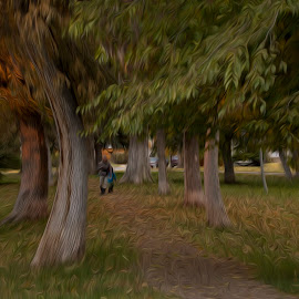 walk.in.the.park by Clare Parsons - Digital Art Places ( park, autumn, montana, bozeman, fall, blond, trees, beauty, women, portrait, clareparsonsphoto )