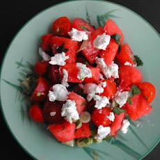 Watermelon, Tomato and Cheese Salad