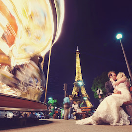 From Paris with Love by Marius Godeanu - Wedding Bride & Groom ( wedding photography, eiffel, photography, love, paris, tower, wedding, carousel, night, bride, light, groom, marius godeanu )