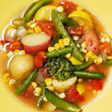 Vegetable Soup with Pesto Butter