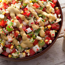 Tomato, Tomatillo, and Corn Salad with Avocado Dressing Recipe
