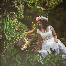 Kisses for the frog? by Jennifer Marie - Digital Art People ( story, old world conceptual, princess, fairy tale, frog, woman, fine art, fun, conceptual )
