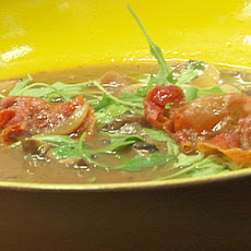 Wild Mushroom Soup with Arugula and Crispy Serrano Ham