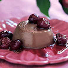 Chocolate Panna Cotta with Port- and Balsamic-Glazed Cherries