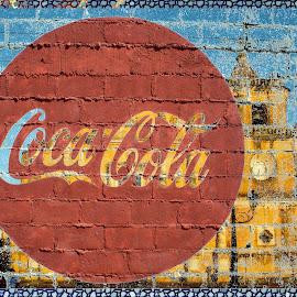 Coca Cola by Joerg Schlagheck - Digital Art Abstract ( coca cola, crap., sky, church, marketing, drink, bad, sugar, junk )