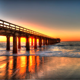 Namibia Sunset by Andre Bez - Buildings & Architecture Bridges & Suspended Structures ( sunset, sea, ocean, jetty, namibia,  )