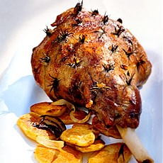 Roast Lamb with Garlic and Rosemary and Rosemary and Onion Sauce