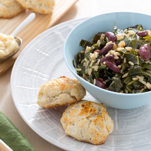 Red Bean & Collard Green Dirty Rice with Buttermilk Biscuits & Honey Butter