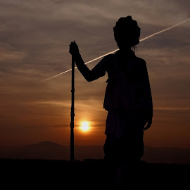 village savior by Shashank Sharma - People Portraits of Men ( stick, village, rajasthan, sunset, shapherd )