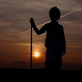village savior by Shashank Sharma - People Portraits of Men ( stick, village, rajasthan, sunset, shapherd,  )