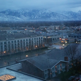 Early morning view from our hotel room by Lalaine Yumul - City,  Street & Park  Neighborhoods ( saltlakecity, littleamericahotel )