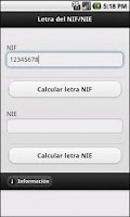 Screenshot of Calcular letra del NIF o NIE