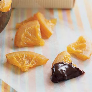 Candied Orange Slices with Ganache Dipping Sauce