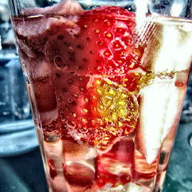 strawberry-punch  by Uschi Rules - Food & Drink Alcohol & Drinks ( champagne, green, bubbles, yellow, vodka, strawberry, bubble, red, alcohol, strawberries, glass, cocktail, bubbly )