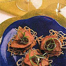 Ginger-Hoisin Beef and Scallions on Crispy Noodle Cakes