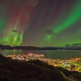 Lodingen City by Rune Nilssen - City,  Street & Park  Skylines ( k3, queen of the night, borealis, aurora, pentax, nordland, norway, city, lodingen )