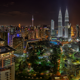 KLCC Precinct Night Panorama by Nur Ismail Mohammed - City,  Street & Park  Skylines ( klcc, hdr, park, klcc park, twin towers, night, cityscape, city park )
