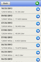Screenshot of Gasoline Log