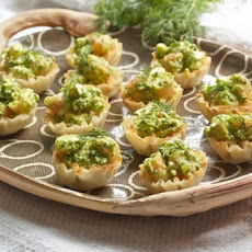Mini Shrimp Phyllo Cups with Dill Pesto and Feta