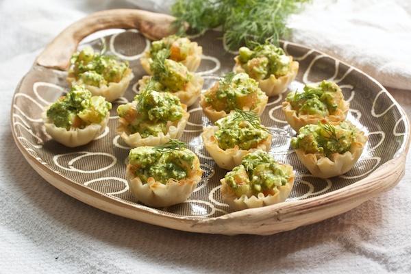 Mini Shrimp Phyllo Cups With Dill Pesto And Feta Recipes — Dishmaps