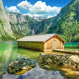 Old Boathouse by Nick M - Buildings & Architecture Decaying & Abandoned ( reflection, mountains, obersee, bavaria, konigssee, boathouse, lake, house, boat, berchtesgaden )