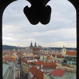 Prague from the Powder Tower by Lori Rider - City,  Street & Park  Vistas ( tower, frame, window, view, prague )