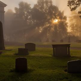 Silvberg church and churchyard by Claes Wåhlin - City,  Street & Park  Cemeteries ( sweden, silvberg, church, churchyard, sunrise, dalarna, grängshammar,  )