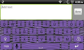 Screenshot of Purple Zebra Keyboard Skin