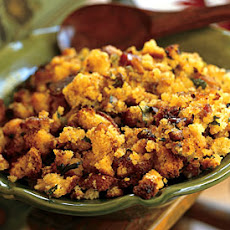 Cornbread Stuffing with Ham, Chestnuts, and Sage