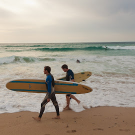 fistral surfers at sunset by Samantha Bearman - Sports & Fitness Surfing ( holiday, sunset, sport, cornwall, fistral bay,  )