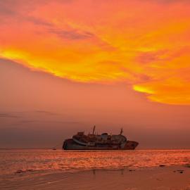 Abandoned Ship by Joey Soriano - Transportation Boats ( ship, sunset, oeysorianophotography, sinkingship, goldenhour )
