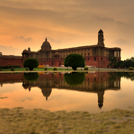 Indian Evening by Dhiren Singh - Buildings & Architecture Statues & Monuments ( mirror, reflection, india, evening, delhi, gate )