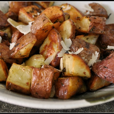 Roasted Potatoes with Rosemary, Truffle Oil, and Parmesan