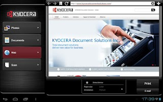 Screenshot of KYOCERA Mobile Print