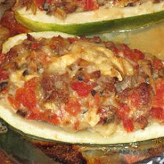Stuffed Zucchini with Chicken Sausage