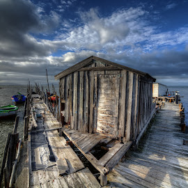 Which way? by Alexandre Ribeiro Dos Santos - Buildings & Architecture Other Exteriors ( alcácer do sal, wood, boats, carrasqueira, path, storehouse, portugal, dock,  )
