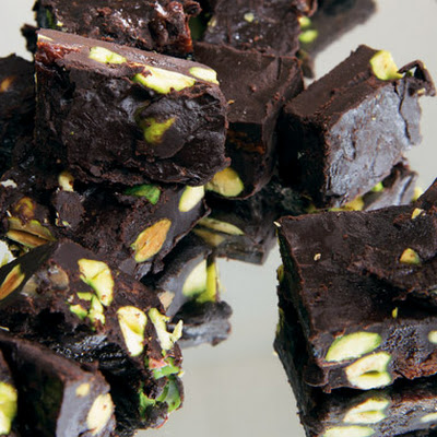 Chocolate Chunks with Cherries and Pistachios