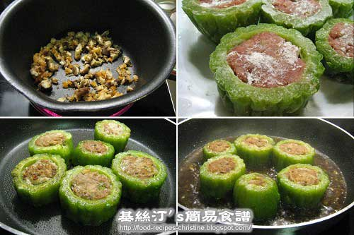 煎釀苦瓜過程圖Fried Bitter Melon with Minced Pork Procedures