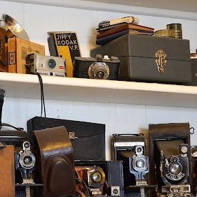 Ah, The Good Old Days by Ed Hanson - Artistic Objects Antiques ( film, old, white, kodak, black, cameras )