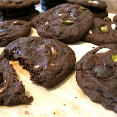 Salty Triple Chocolate Pistachio Cookies