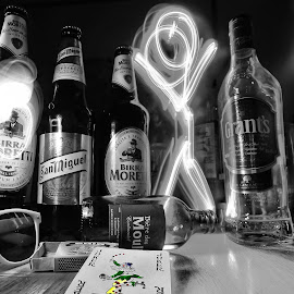 Joker time by Ashley Cordwell - Digital Art Things ( abstract, joker, light painting, black and white, bottles, playing card, sunglasses )