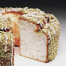 Lime Angel Food Cake with Lime Glaze and Pistachios