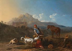 RIJKS: Karel Dujardin: Italian Landscape with Girl Milking a Goat 1652