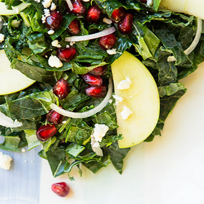 Apple Pomegranate Kale Salad with Lemon Vinaigrette