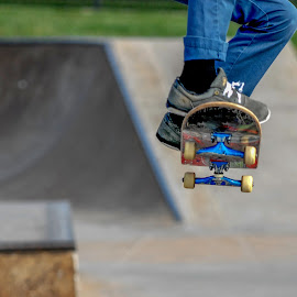 Soaring by Clark - Worthington - Sports & Fitness Skateboarding ( skate, athelete ollie board, action, sport, board )