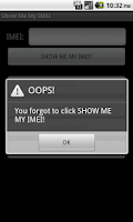 Screenshot of Show Me My IMEI