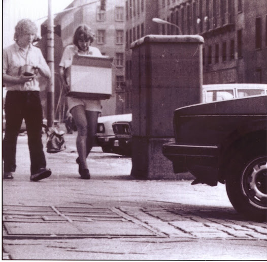 """Photo taken of wife and me by camera concealed in tail light of Trabant. On my file case officer Col Lehman noted """"Millar...makes his wife carry the heavy objects'. She has never let me forget it."""