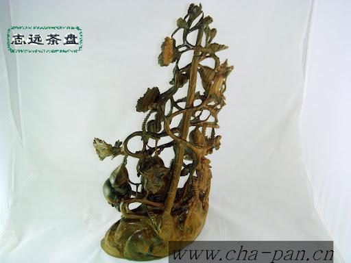 葫芦绿檀木雕工艺品摆件